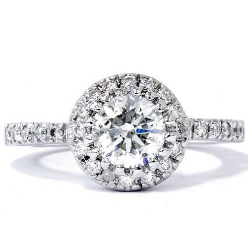 0.80 Ct SI1 Round Cut Diamond Halo Engagement Ring 14k White Gold Enhanced (E, SI(1)-SI(2))