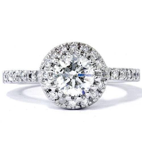 0.80 Ct SI1 Round Cut Diamond Halo Engagement Ring 14k White Gold Enhanced (E, SI(1)-SI(2))