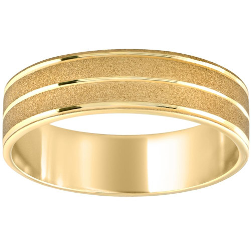 Mens 14K Yellow Gold Brushed Comfort Fit Wedding Band 6MM Wide