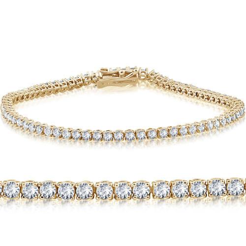 "14k Yellow Gold 3 ct Round Cut Diamond Tennis Bracelet 7"" (G-H, I1)"
