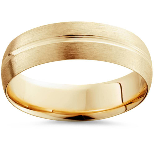 6mm Low Dome 14K Yellow Gold Single Groove Brush Finish Wedding Band