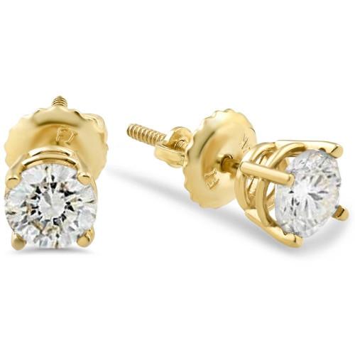 5/8ct Diamond Screw Back Studs 14K Yellow Gold (J/K, I2/I3)