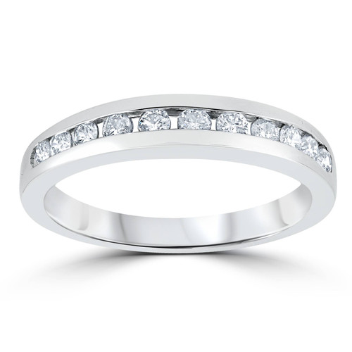 1/3ct Channel Set Diamond Wedding Ring Solid 14K White Gold (G/H, I1)