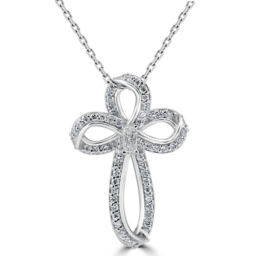 """Certified 1/3 Ct Diamond Cross 14K White Gold With 1"""" Tall Necklace (G-I, VS1-I1)"""