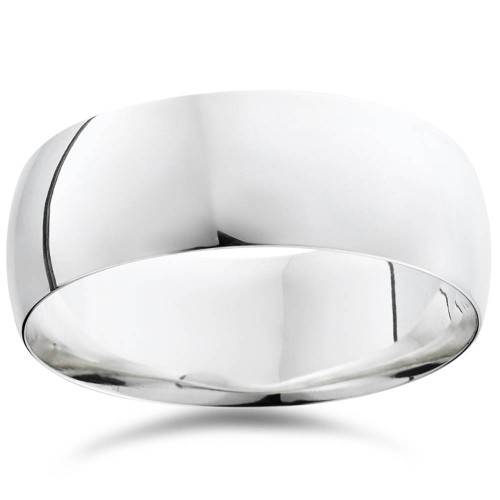 8mm Dome High Polished Wedding Plain Band 14K White Gold Comfort Fit Ring