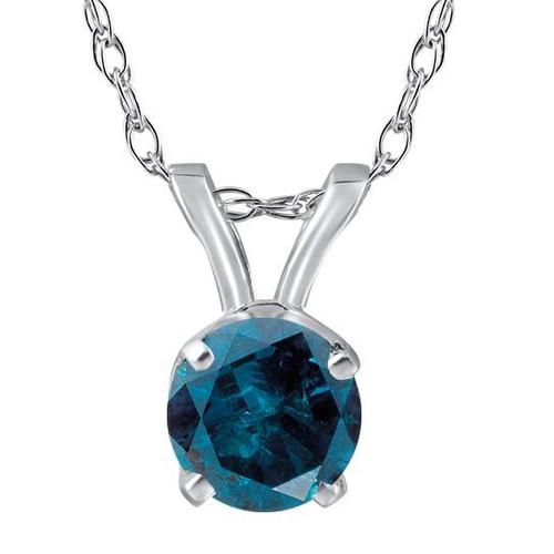 3/4ct Blue Diamond Solitaire 14K White Gold Pendant (Blue, SI3)