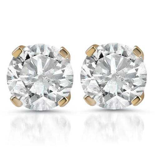 1ct Diamond Studs 14K Yellow Gold (G/H, I2-I3)