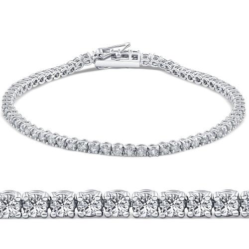 "2 1/2ct VS Diamond Tennis Bracelet 18K White Gold 7"" Double Lock Clasp (G, VS2)"