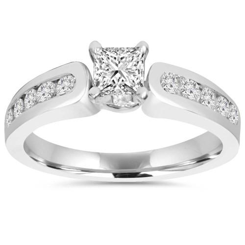 1 CT Princess Cut Diamond Engagement Ring 14k White Gold (H/I, I1-I2)
