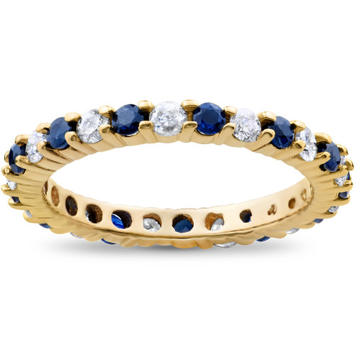 1 1/2ct Diamond Sapphire Eternity Ring 14K Yellow Gold (H, I1)