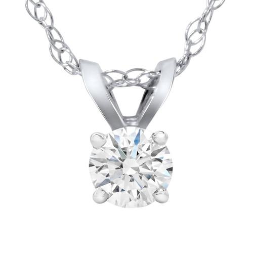 1/4 Carat Solitaire Lab Created Diamond Pendant 14K White Gold (F, VS/SI)