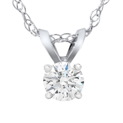 1/4 Carat Solitaire Lab Grown Diamond Pendant 14K White Gold (F, VS/SI)