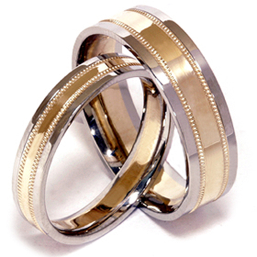 White & Yellow Gold Two Tone His Hers Wedding Band Set