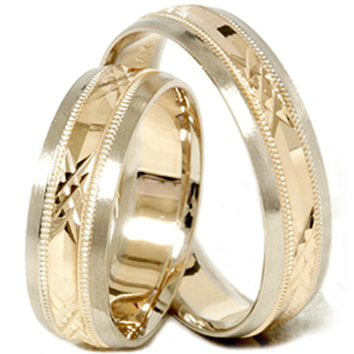 Gold Matching His Hers Swiss Cut Wedding Band Ring Set