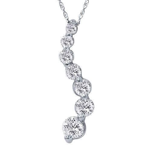 1 1/2ct Real Diamond Journey Pendant 14K White Gold New (G/H, I1)