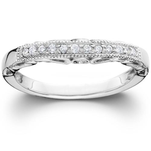 1/5CT Vintage Diamond Curved Notched Guard Wedding Ring 14K White Gold (H/I, I1-I2)