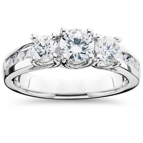 2ct Diamond Three Stone Ring 14K White Gold (G/H, SI)