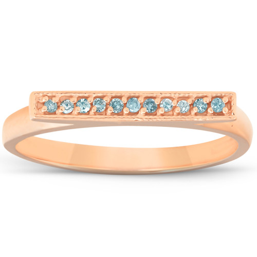 1/10CT Bar Diamond Ring 14K Rose Gold (H/I, I1)