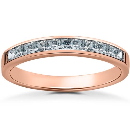 1/2ct Princess Cut Diamond Wedding Ring 14K Rose Gold (G/H, I2)