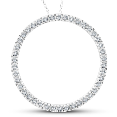 5/8Ct Circle Of Life Round Diamond Pendant 10K White Gold (H-I, i2-I3)