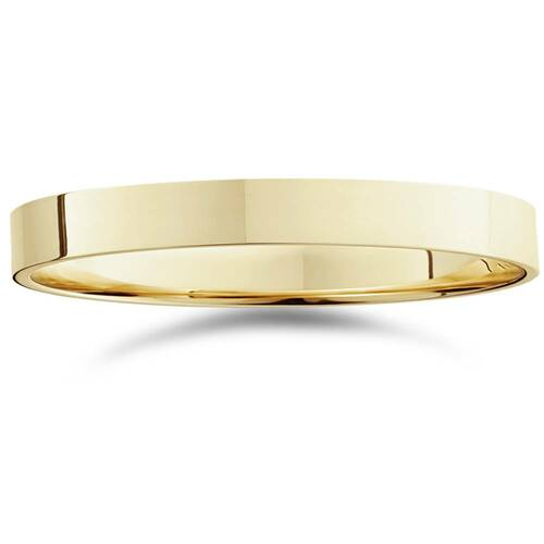 3mm Flat High Polished Wedding Band 10K Yellow Gold