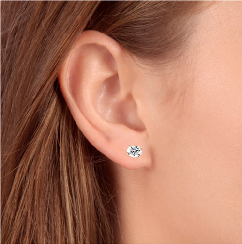 1ct Round Diamond Stud Earrings in 14K Yellow Gold with Screw Backs IGI (I-J, I1)