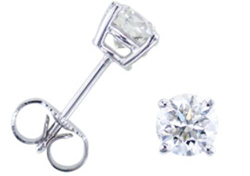 3/8ct Round Diamond Studs Earrings 14K White Gold (G/H, SI2/SI3)
