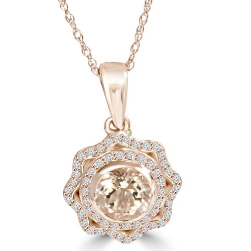 1CT Morganite & Diamond Vintage Double Halo Pendant 14K Rose Gold (K-L,I2-I3) (H-I, SI2-I1)