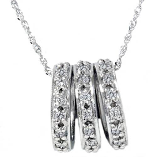1/2ct 14K White Gold Pave Diamond Pendant Necklace (G/H, I2)