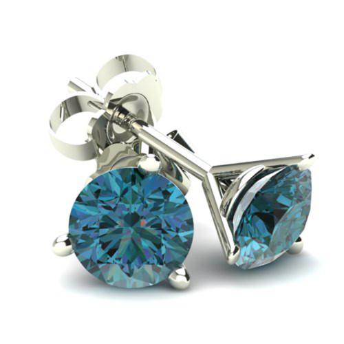 .85Ct Round Brilliant Cut Heat Treated Blue Diamond Stud Earrings in 14K Gold Martini Setting (Blue, SI2-I1)
