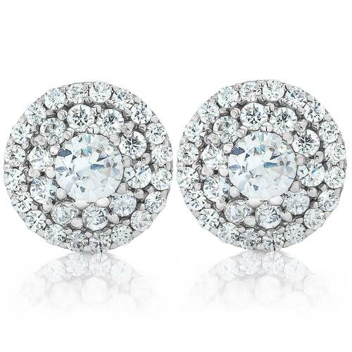 Double Halo Diamond Screw Back Studs 1/2 Carat TW 14K White Gold (H-I, I1-I2)