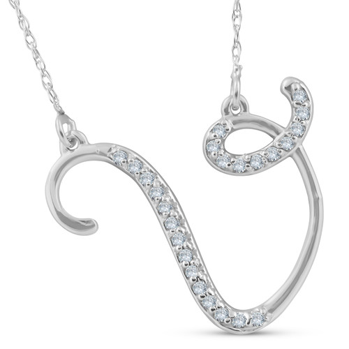 "1/4ct Diamond ""V"" Initial Pendant 18"" Necklace 14K White Gold (G/H, I2)"