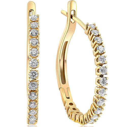 "1/2 ct Diamond Hoops 10K Yellow Gold 1"" Tall (G/H, I2)"