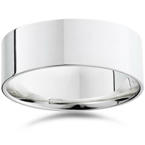 8mm Flat High Polished Comfort Fit Plain Wedding Band 14K White Gold Ring