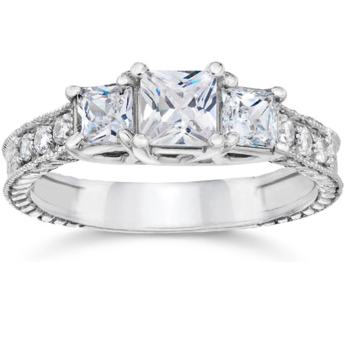1 1/4ct Vintage Three Stone Princess Cut Diamond Engagement Ring 14K White Gold (H, SI2)