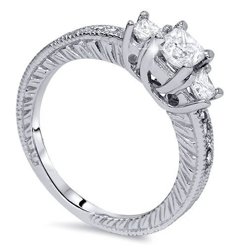 1 1/4ct Vintage Three Stone Princess Cut Diamond Engagement Ring 14K White Gold (H, SI2)