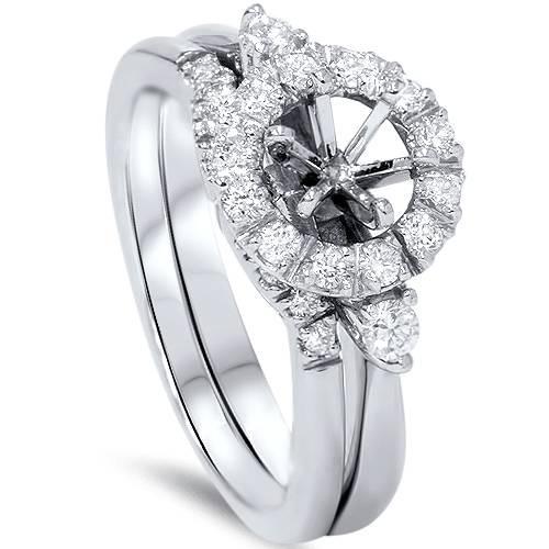 1/2ct Diamond Halo Engagement Setting Set 14K White Gold (G/H, SI1-SI2)