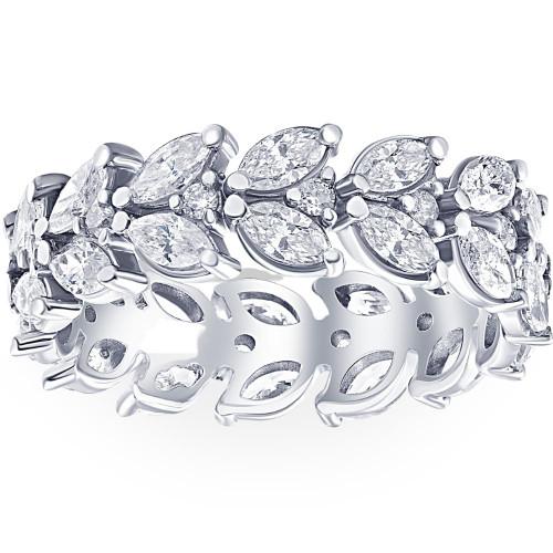 2 3/4ct Marquise Diamond Eternity Ring 14K White Gold (G/H, SI2-I1)