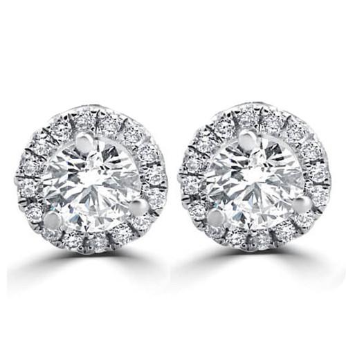 1/2ct Round Diamond Halo Studs 10K White Gold (D, VS(1)-VS(2))