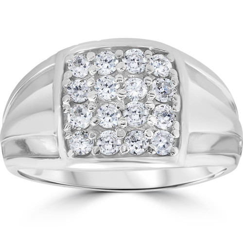 1 cttw Diamond Mens Ring 10k White Gold (I/J, I2-I3)