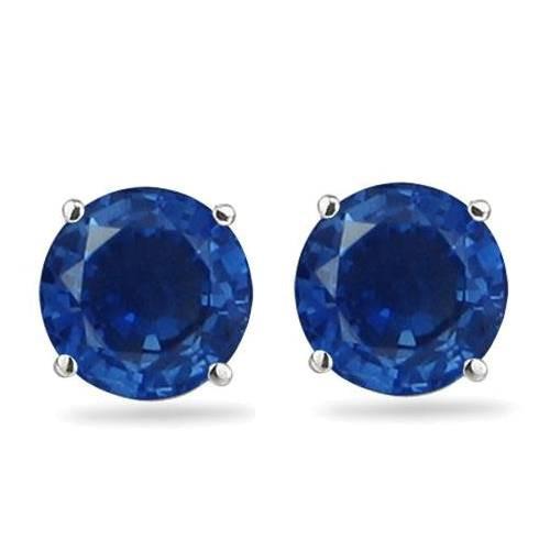 1 1/4ct Blue Sapphire Studs Earrings 14K White Gold (blue, )