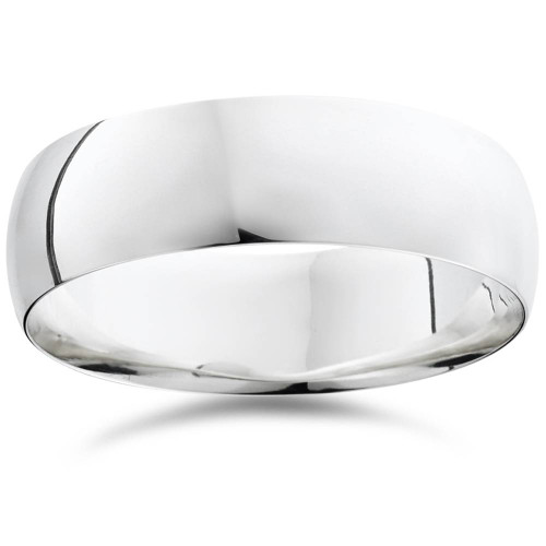 7mm Dome High Polished Wedding Band 10K White Gold