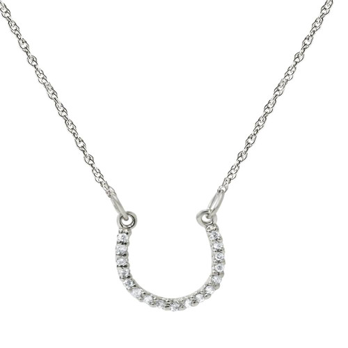 1/10ct Petite 14k White Gold Diamond Horseshoe Pendant (H-I, I2)