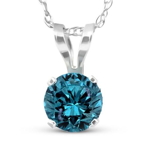 1/2 Carat Blue Diamond Solitaire Pendant 14K White Gold (blue, I3)