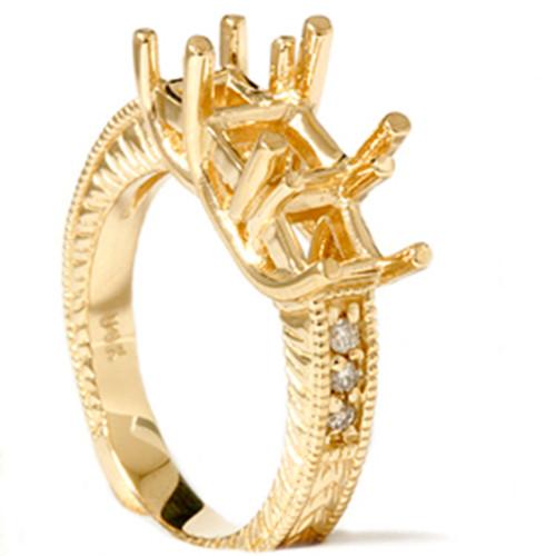 1/5ct Vintage Three Stone Princess Cut Diamond Setting (H, I1)