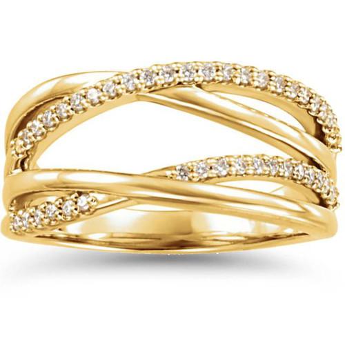 1/4CT Diamond Criss Cross Right Hand Ring 14K Yellow Gold (H/I, I1-I2)