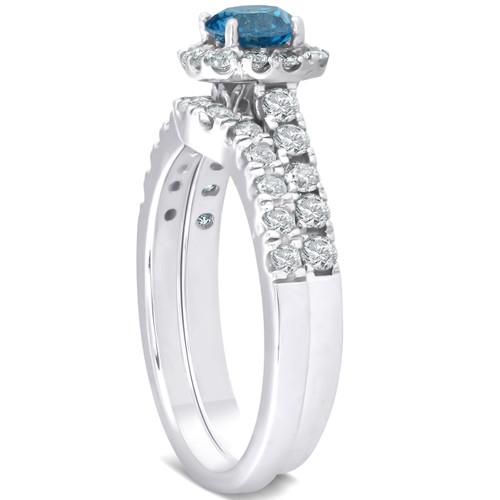 1 1/4ct Cushion Halo Blue Diamond Engagement Ring Set 14K White Gold (G/H, I1)