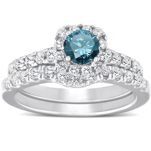 1 1/4ct Cushion Halo Blue Diamond Engagement Ring Set 14K White Gold (G/H, I1)