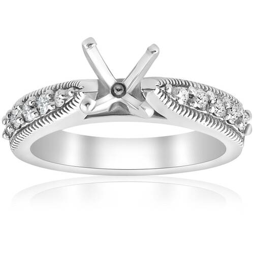 Diamond Engagement Ring Setting 14k White Gold Vintage Semi Mounting Antique (G/H, I1)
