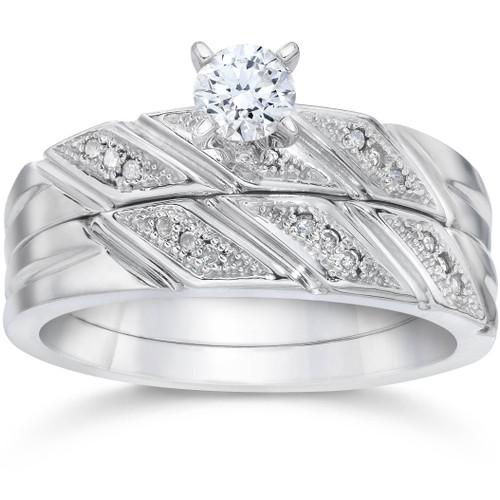 1/5ct Diamond Engagement Ring Matching Wedding Band Set 10K White Gold (H/I, I1-I2)